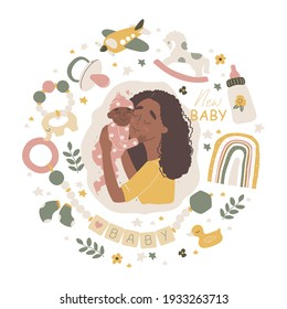 Young mother holding her little baby. Baby care accessories and items. Newborn boho baby. Vector illustration with cute characters.