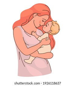 Young mother holds a cute baby in her arms. Sketch with line and fill.