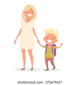 Young mother leads her son in elementary school. Mom holds her son's hand. Vector illustration in a flat design