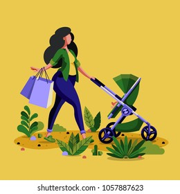 Young mother pushing her child in a stroller trough the park illustration