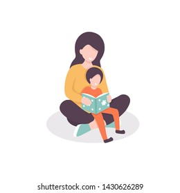Young mother reads a book with her child, teaches to read her son. Flat vector illustration.