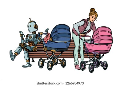 young mother and robot with a baby carriage, park bench. Pop art retro vector illustration kitsch vintage