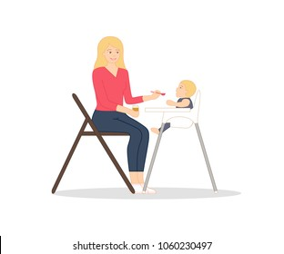 Young mother is sitting on the chair with little spoon and jar of baby puree in her hands, feeding her baby, who is sitting in a child's chair. Modern flat style vector illustration, isolated.