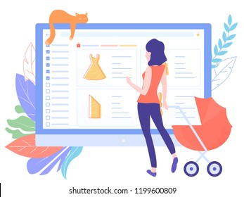 Young mother with a stroller shopping in the online store. The site of the store is open on the laptop screen, around the leaves and cat.