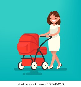 Young mother walking with a newborn that is in the pram. Vector illustration of a flat design
