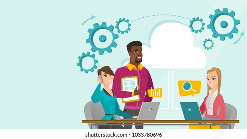 Young multicultural business people using laptop computers, talking on mobile phone in office under cloud. Office life and cloud computing concept. Vector cartoon illustration. Horizontal layout.