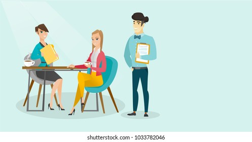 Young multiracial business people drinking coffee and talking at business meeting. Caucasian white women and asian man chatting at business meeting. Vector cartoon illustration. Horizontal layout.