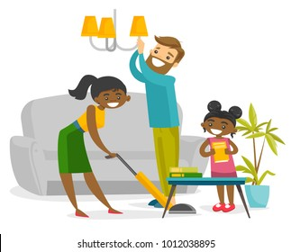 Young multiracial family having fun while cleaning living room all together. Little biracial daughter helping her african mother and caucasian father to clean a house. Vector cartoon illustration.