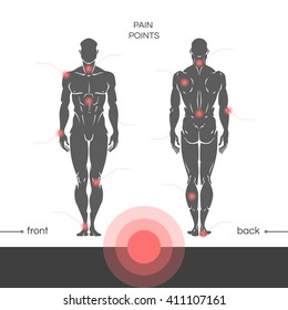 Young muscular healthy man is a full-length with a designation of points of pain in the joints. Points of pain on a man's body with the footnotes. Vector illustration isolated on white background.
