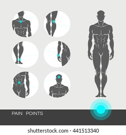 Young muscular healthy man is a full-length with a designation of points of pain in the joints. Points of pain on a man's body with the footnotes. Realistic vector illustration isolated on white.