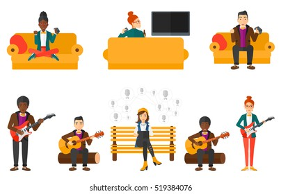 Young musician playing electric guitar. Man practicing in playing guitar. Guitarist playing music. Excited man playing video game. Set of vector flat design illustrations isolated on white background.