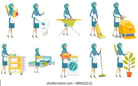 Young muslim cleaner set. Housemaid making bed, cleaning toilet, ironing, using vacuum cleaner, washing, mopping, watering flower. Set of vector flat design illustrations isolated on white background.