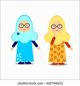 Young muslim girl character. Vector eps.10