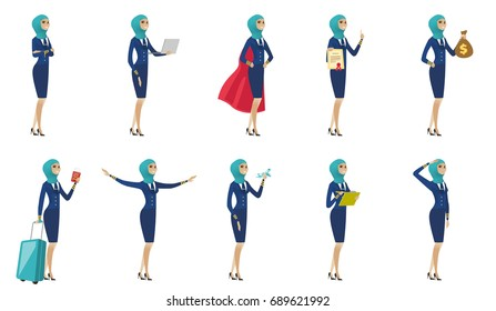 Young muslim stewardess set. Stewardess standing with crossed arms, working on a laptop, showing diploma, passport, saluting. Set of vector flat design illustrations isolated on white background.