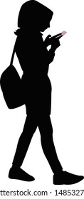 young muslim woman with scarf, walking and looking phone, silhouette vector