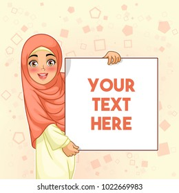 Young muslim woman smiling holding white sign blank board, cartoon character design, against yellow background, vector illustration.