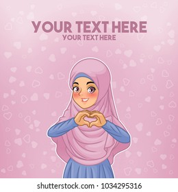 Young muslim woman wearing hijab veil making heart shape with her hands cartoon character design, against purple background, vector illustration.