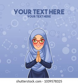 Young muslim woman wearing hijab veil smiling greeting with welcoming gesture hands put together, cartoon character design, against blue background, vector illustration.