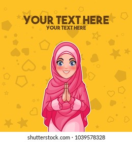 Young muslim woman wearing hijab veil smiling greeting with welcoming gesture hands put together, cartoon character design, against yellow background, vector illustration.
