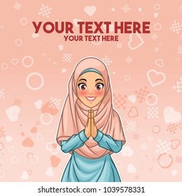 Young muslim woman wearing hijab veil smiling greeting with welcoming gesture hands put together, cartoon character design, against pink background, vector illustration.