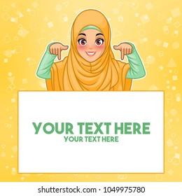 Young muslim woman wearing hijab veil pointing finger down at copy space, cartoon character design, against yellow background, vector illustration.