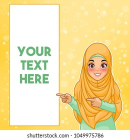 Young muslim woman wearing hijab veil pointing finger to the right side at copy space, cartoon character design, against yellow background, vector illustration.