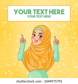 Young muslim woman wearing hijab veil pointing finger up at copy space, cartoon character design, against yellow background, vector illustration.