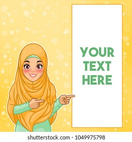 Young muslim woman wearing hijab veil pointing finger to the left side at copy space, cartoon character design, against yellow background, vector illustration.