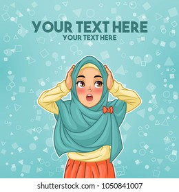 Young muslim woman wearing hijab veil surprised with holding her head, cartoon character design, against tosca background, vector illustration.