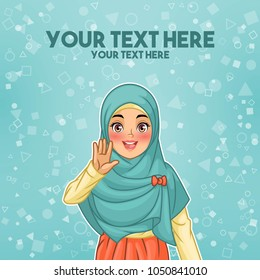 Young muslim woman wearing hijab veil waving with her palm or five fingers gesture, cartoon character design, against tosca background, vector illustration.