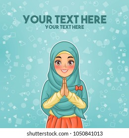 Young muslim woman wearing hijab veil smiling greeting with welcoming gesture hands put together, cartoon character design, against tosca background, vector illustration.