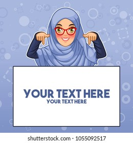 Young muslim woman wearing hijab and glasses pointing finger down at copy space, cartoon character design, against blue background, vector illustration.