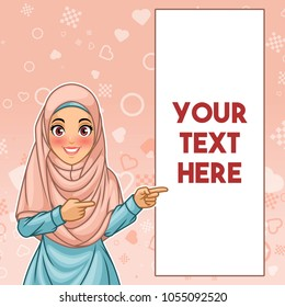 Young muslim woman wearing hijab veil pointing finger to the left side at copy space, cartoon character design, against pink background, vector illustration.