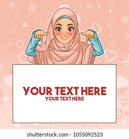 Young muslim woman wearing hijab veil pointing finger down at copy space, cartoon character design, against pink background, vector illustration.
