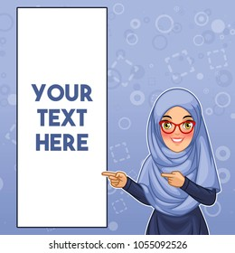 Young muslim woman wearing hijab and glasses pointing finger to the right side at copy space, cartoon character design, against blue background, vector illustration.