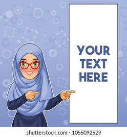 Young muslim woman wearing hijab and glasses pointing finger to the left side at copy space, cartoon character design, against blue background, vector illustration.
