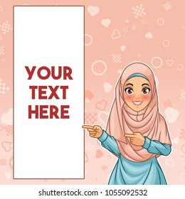 Young muslim woman wearing hijab veil pointing finger to the right side at copy space, cartoon character design, against pink background, vector illustration.
