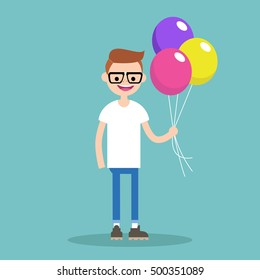Young nerd holding a bunch of colorful balloons,d editable flat vector illustration