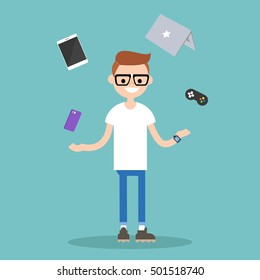 Young nerd juggling electronic devices / editable flat vector illustration