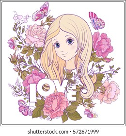 Young nice girl with long hear in the garden of roses. Good for greeting card for birthday, invitation or banner. Stock vector.