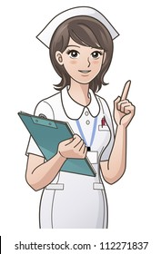 young nurse pointing the index finger up, guiding information, with a clipboard, isolated on white back ground. Clipping mask is used in the EPS file.