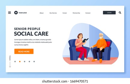 Young nurse or volunteer social worker reads book to elderly man. Vector flat cartoon characters illustration. Home taking care of seniors people, healthcare occupation and attention concept
