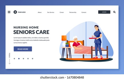 Young nurse or volunteer social worker serving meal to disabled elderly woman. Vector flat cartoon characters illustration. Taking care of seniors people and healthcare occupation concept