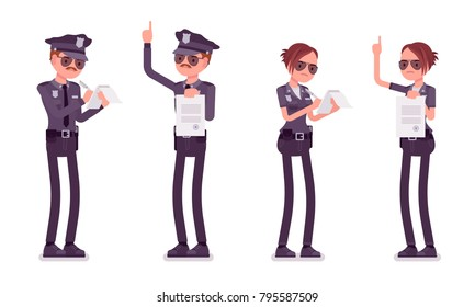 Young officers, policeman and policewoman, members of police force prepare paperwork, making record. Law and justice concept. Vector flat style cartoon illustration isolated on white background