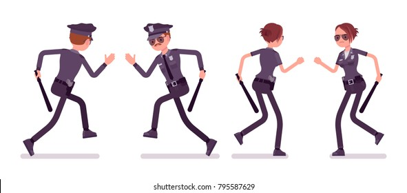 Young officers running, policeman and policewoman, members of a police force following a criminal. Law and justice concept. Vector flat style cartoon illustration isolated on white background