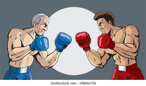 Young And Old Cartoon Boxing Cartoon Images,...