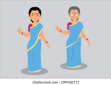 young & old Indian lady in saree vector illustration