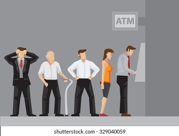 Young and old people waiting in line to draw money from self-service Automated Teller Machine. Cartoon vector illustration.