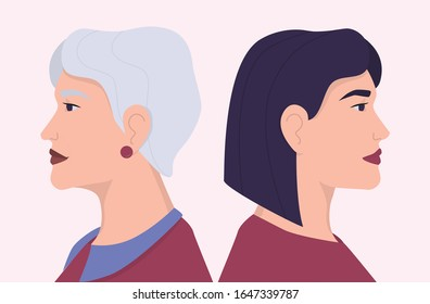 Young and old woman faces in profile . Young and elderly person, age diversity. Generation gap concept. Vector Flat Illustration