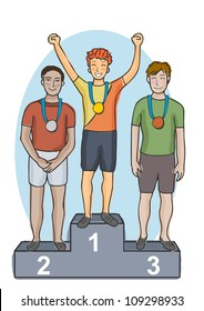 Young olympic sports men holding celebrating on the winners podium